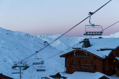 Взгляд лыжного курорта 3 долин, Франции Val Thorens Стоковое Изображение