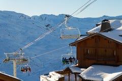 Взгляд лыжного курорта 3 долин, Франции Val Thorens Стоковые Изображения