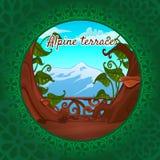 Взгляды Альпов от террасы, зеленая картина Стоковые Фото