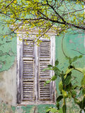 Взгляды вокруг Scharloo - старые окно и краска шелушения Стоковое Изображение