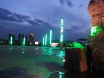 Взгляды над городом - красивым городом Huludao облаков, провинцией Ляонина, портовым районом CBD Китая Longwan Стоковое Фото