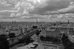 Взгляды от Нотр-Дам, Парижа, черно-белого Стоковое Изображение RF