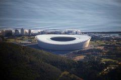 Взгляды стадиона Кейптауна от горы столешницы, Южной Африки стоковые фотографии rf