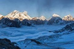 Взгляд Эвереста панорамный от пропуска Ла Renjo Стоковая Фотография