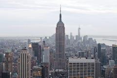 Взгляд Эмпайра Стейта Билдинга и Манхаттана от центра Рокефеллер, Нью-Йорка, США Стоковые Фото