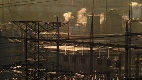 взгляд электрической станции тепловой мощности сток-видео