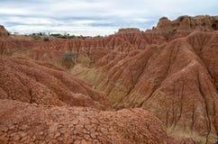 Взгляд для того чтобы зашкурить каньон в пустыне Tatacoa и местной обсерватории на t Стоковые Изображения RF