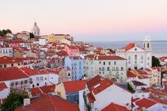 Взгляд Alfama, Лиссабона, Португалии Стоковая Фотография RF