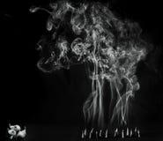 Взгляд Artitic черно-белый горящих конусов ладана с интенсивным дымом Стоковые Фотографии RF