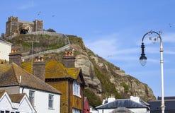Взгляд Clifftop и восточной железной дороги холма в Hastings стоковое фото