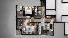 Взгляд 3D конструировал квартиру Стоковое Изображение