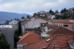 Взгляд Herceg-Novi старый город от высоты Стоковое Изображение RF