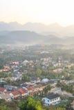 Взгляд Luang Prabang от холма Phusi Стоковое фото RF