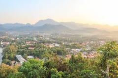 Взгляд Luang Prabang от холма Phusi Стоковая Фотография RF