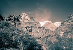 Взгляд Machapuchare, на треке базового лагеря Annapurna, Непал стоковое изображение rf