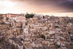 Взгляд Matera, Balsilicata, Италии Стоковое фото RF