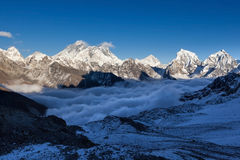 Взгляд Mount Everest от пропуска Ла Renjo Стоковое Фото