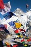 Взгляд Mount Everest с буддийскими флагами молитве Стоковое Изображение