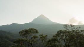 Взгляд na górze пика ` s Адама горы на заходе солнца Sri Lanka Стоковое фото RF