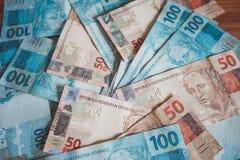 Взгляд reais денег Бразилии Стоковое Фото