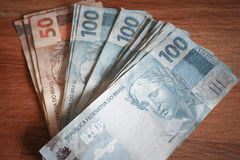 Взгляд reais денег Бразилии Стоковое фото RF
