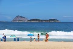 взгляд rio janeiro Бразилии de ipanema пляжа Стоковое Изображение