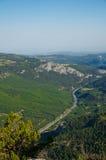 Взгляд s-глаза ` птицы леса, деревни и шоссе Стоковое Изображение RF