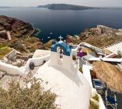 Взгляд Santorini с церковью Стоковая Фотография