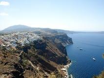 Взгляд Santorini Caledra, Греции Стоковое Изображение