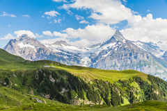 Взгляд Schreckhorn, швейцарских горных вершин Стоковое фото RF