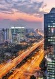 взгляд shanghai ночи Стоковая Фотография