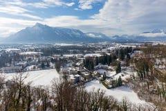 Взгляд Untersberg в зиме, Зальцбург, Австрия Стоковая Фотография RF