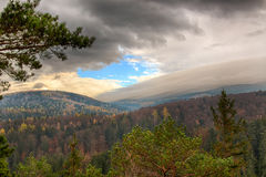Взгляд Widok злотого места наблюдения золотой Соотечественник Karkonoski Стоковая Фотография