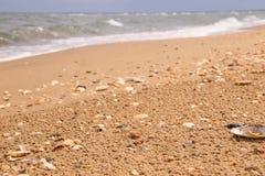 Взморье и волнистое Чёрное море позади Стоковая Фотография