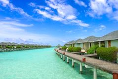 взморье курорта Мальдивов Стоковое Изображение