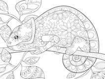 Взрослая книжка-раскраска, вызывает милое изображение hameleon для ослаблять бесплатная иллюстрация