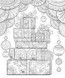 Взрослая книжка-раскраска, вызывает подарки рождества с орнаментами украшения для ослаблять Zentangle иллюстрация вектора