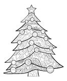 Взрослая книжка-раскраска, вызывает рождественскую елку с орнаментами украшения для ослаблять Zentangle иллюстрация вектора