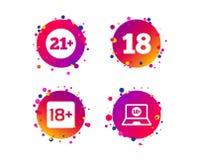 Взрослые содержимые значки 18 добавочных лет знака вектор иллюстрация штока