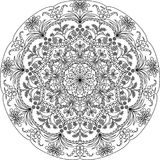 Взрослая страница расцветки мандалы стоковая фотография