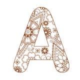 Взрослая страница расцветки с письмом a алфавита Орнаментальный шрифт Стоковые Фотографии RF