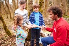 Взрослые и дети рассматривая животный рожок в центре деятельности стоковые фото