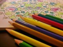 Взрослые книга расцветки и карандаши расцветки Стоковые Изображения