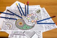 Взрослые книги расцветки с карандашами, новой тенденцией сбрасывать стресса, персоной концепции mindfulness крася иллюстративной Стоковое Изображение