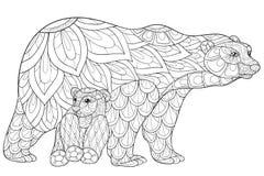 Взрослые медведи страницы расцветки Стоковое Изображение RF