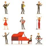 Взрослые музыканты и певицы выполняя музыкальный номер на этапе в комплекте концертного зала персонажей из мультфильма иллюстрация вектора