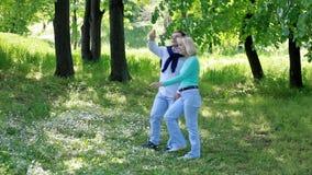 Взрослые пары идя через парк видеоматериал
