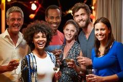 Взрослые друзья выпивая на приеме гостей, портрет группы стоковое изображение rf