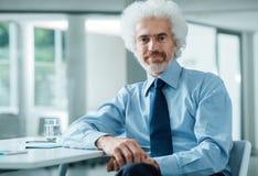 Взрослый бизнесмен на представлять офиса Стоковые Фотографии RF