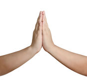 Взрослый человек при его руки помещенные совместно в молитве перед a Стоковые Фото